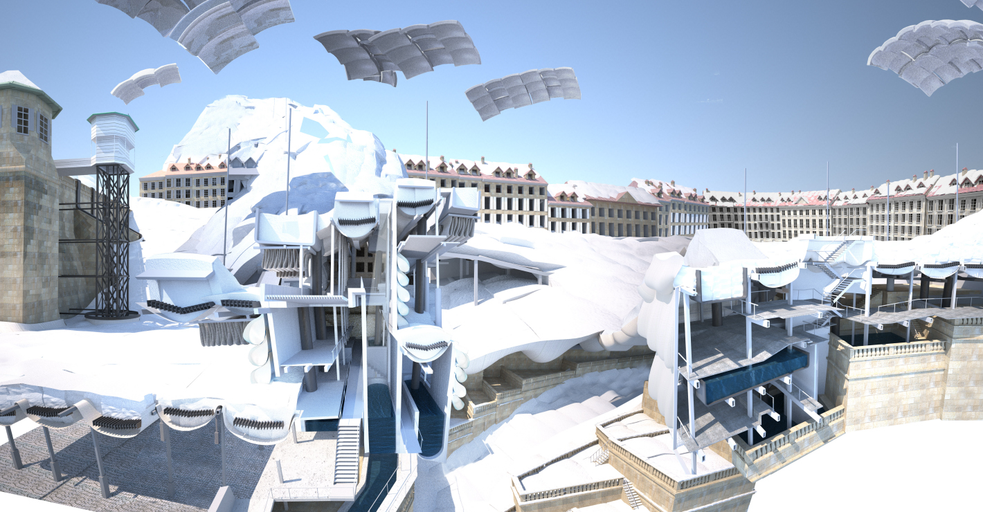 Old Bern Mountain Paradise. An engineered ski resort is fused into a historic city. Featuring snow creation towers, snow insulation pillows, solar shading balloons and huge culverts to remove melted snow. Image: Danny Lane