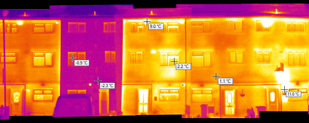 "Passfield Drive by Bere Architects. This Passivhaus retrofit of a London house included external wall insulation and triple glazing. Thermal imaging shows the drastic reduction in heat loss through the façade compared to neighbouring properties. Image: <a target=""_blank"" href=""http://www.bere.co.uk/"">Bere Architects</a>"