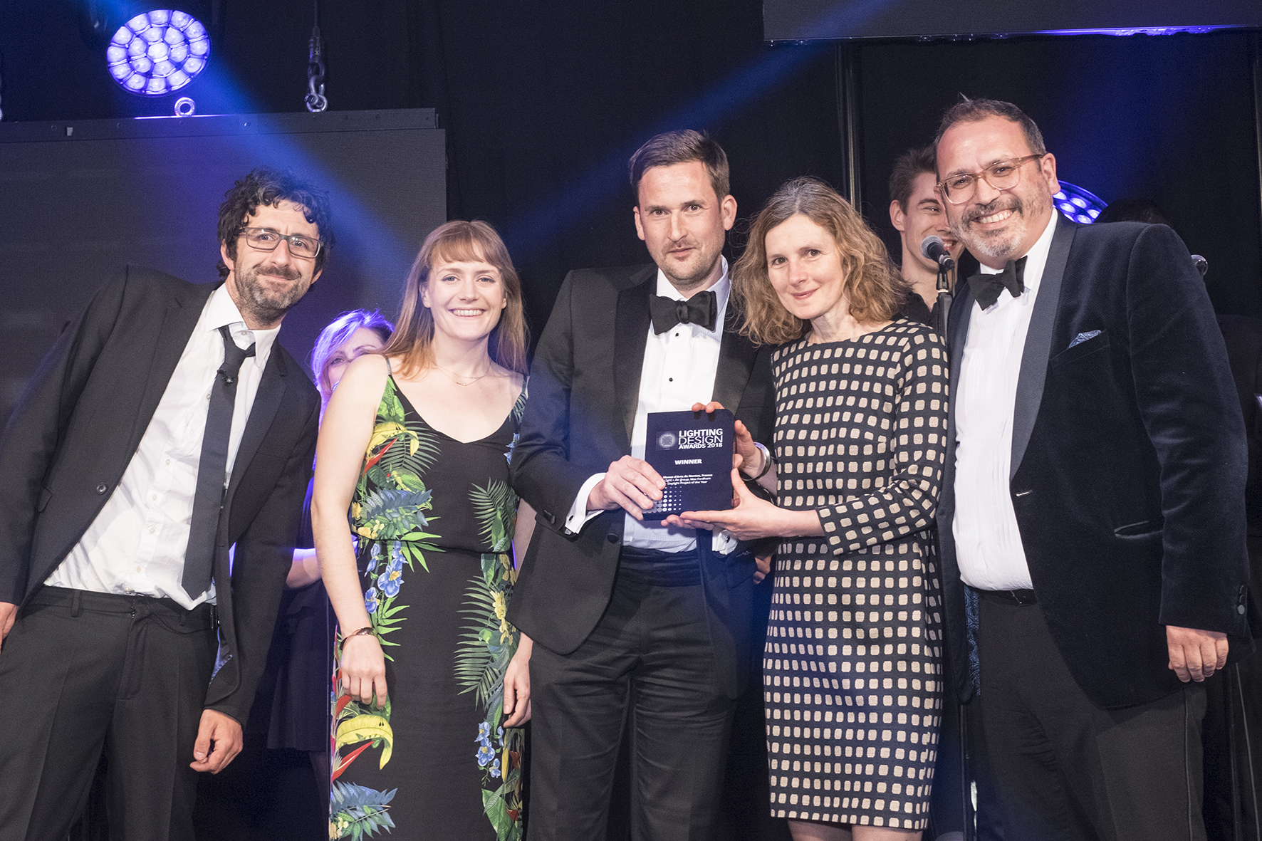 The Lighting Design Award being presented to Nick Cramp (Head of Max Fordham Light + Air group), Hazel Selby (Lighting Consultant at Max Fordham) and Anne Fehrenbach (Architect at Stanton Williams)