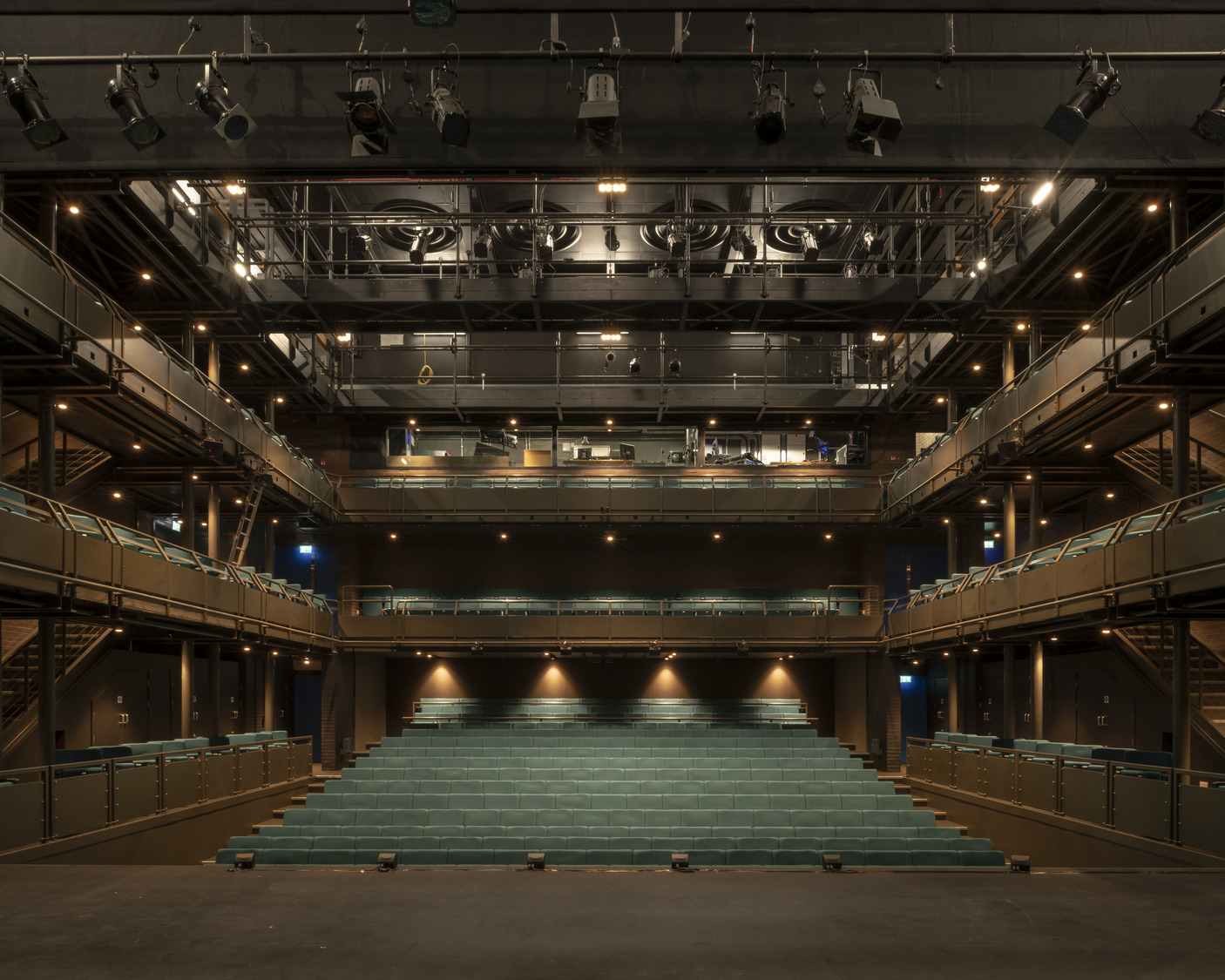 The Courtyard Theatre was completely stripped out to allow for installation of a new low-energy air handling unit with integrated heat-pump cooling, new house lighting and theatre technical electrics.